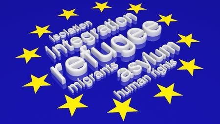 humanism: Bandera de la Uni�n Europea con el texto asociado a la inmigraci�n.