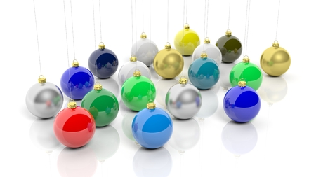 navidad: Colorful Christmas balls, isolated on white background.