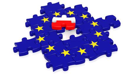 european integration: Jigsaw puzzle flag of European Union with Poland flag piece, isolated on white. Stock Photo