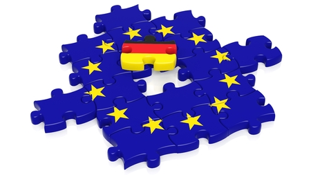 european integration: Jigsaw puzzle flag of European Union with Germany flag piece, isolated on white. Stock Photo