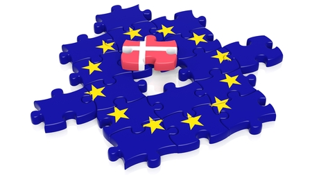european integration: Jigsaw puzzle flag of European Union with Denmark flag piece, isolated on white.