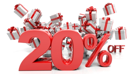 20% 3D numbers with bunch of gift boxes,isolated on white background. Imagens