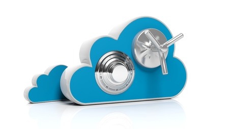 dial lock: Cloud online storage icons with round dial lock, isolated on white
