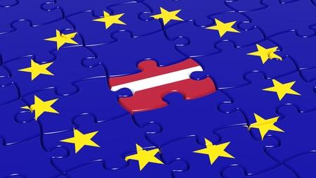 european integration: Jigsaw puzzle flag of European Union with Latvia flag piece.