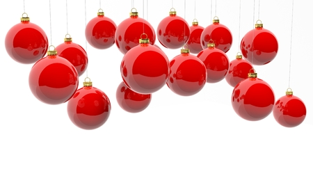 christmas red: Red Christmas balls, isolated on white background. Stock Photo