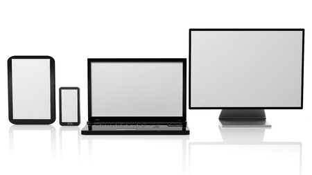 laptop computer: Tablet, laptop, monitor and smartphone templates with black screens, isolated on white background. Stock Photo