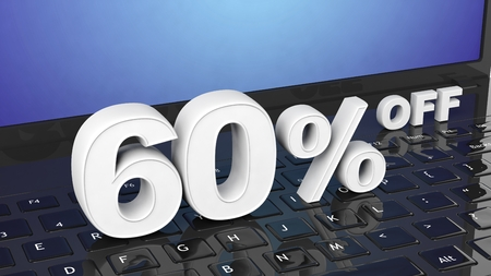 selling off: 60% off white 3D numbers on black laptop keyboard Stock Photo