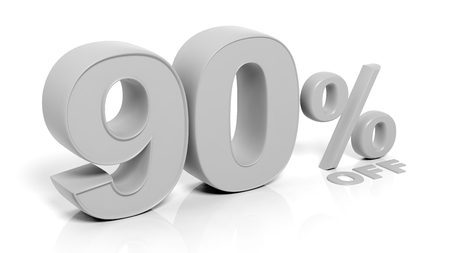 90: 90% 3D numbers,isolated on white background. Stock Photo