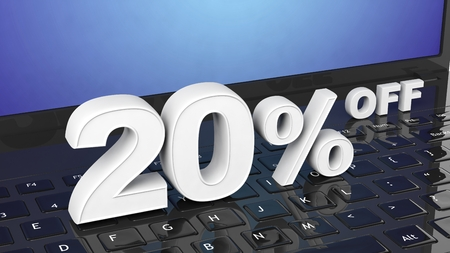 selling off: 20% off white 3D numbers on black laptop keyboard