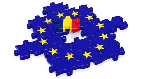 european integration: Jigsaw puzzle flag of European Union with Romania flag piece, isolated on white.