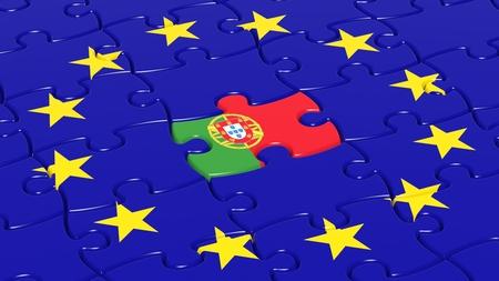 drapeau portugal: Jigsaw puzzle drapeau de l'Union européenne avec le Portugal drapeau pièce. Banque d'images