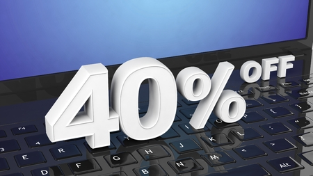 holiday profits: 40%  off white 3D numbers on black laptop keyboard Stock Photo