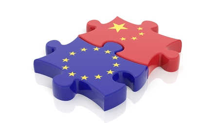 EU: Jigsaw puzzle pieces, flag of EU and flag of China, isolated on white.