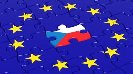european integration: Jigsaw puzzle flag of European Union with Czech Republic flag piece. Stock Photo
