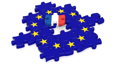 european integration: Jigsaw puzzle flag of European Union with France flag piece, isolated on white.