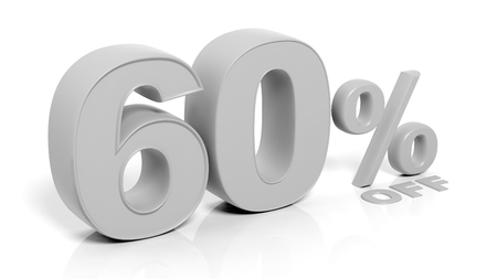 holiday profits: 60% 3D numbers,isolated on white background.