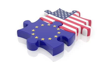 an ally: Jigsaw puzzle pieces, flag of EU and flag of USA , isolated on white.