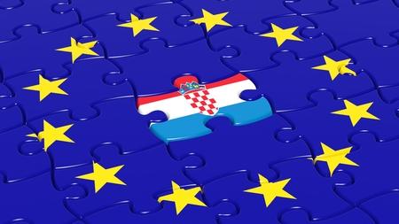 bandera croacia: Jigsaw puzzle de la bandera de la Uni�n Europea con Croacia pieza bandera. Foto de archivo