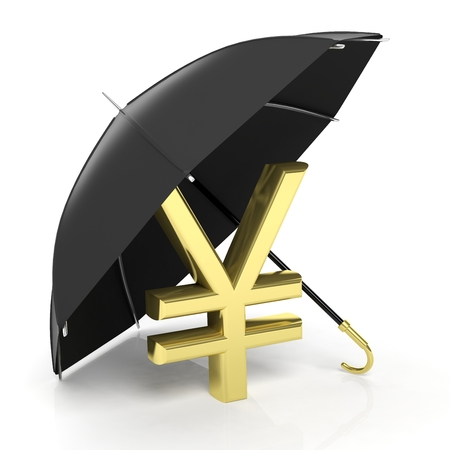 yen sign: A golden yen sign under big black umbrella, isolated on white.