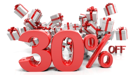 trade off: 30% 3D numbers with bunch of gift boxes,isolated on white background.