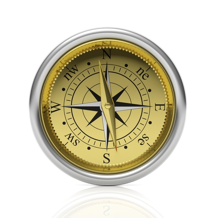 dial compass: Golden compass detailed dial, isolated on white background. Stock Photo