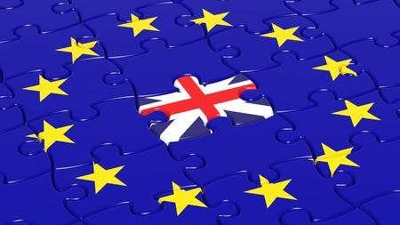 european integration: Jigsaw puzzle flag of European Union with United Kingdom flag piece.