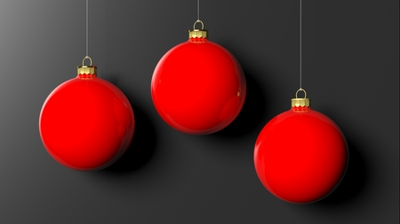 christmas red: Red Christmas balls, isolated on black background.