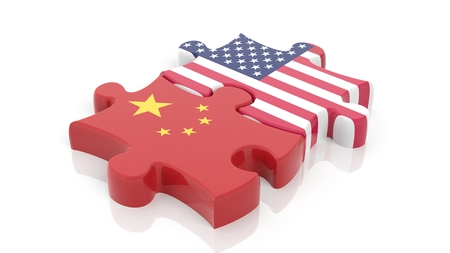 Jigsaw puzzle pieces, flag of USA and flag of China, isolated on white. Stockfoto