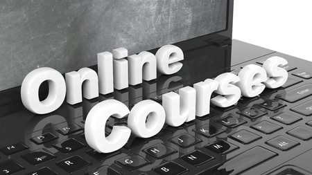 university text: Online Courses 3D text on laptop keyboard, with blackboard on screen.