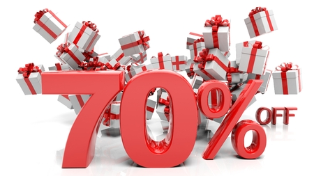 trade off: 70% 3D numbers with bunch of gift boxes,isolated on white background.