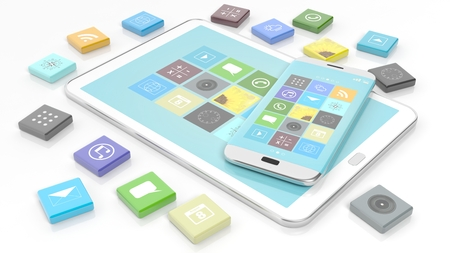 beveled: Smartphone and tablet with apps in shape of beveled square, isolated on white background. Stock Photo