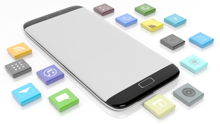 beveled: Smartphone template with apps in shape of a beveled square, isolated on white background.