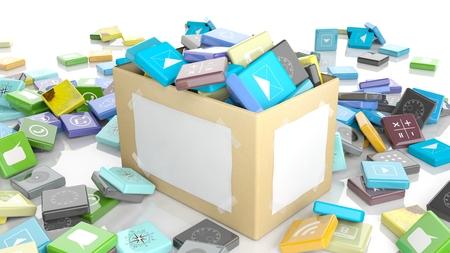 beveled: Carton box with beveled square apps, isolated on white background.