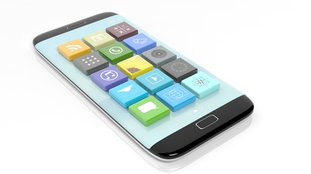 smartphone apps: Smartphone with apps in shape of a beveled square, isolated on white background.