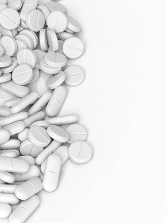 capsules: White tablets and caplets, isolated on white background.