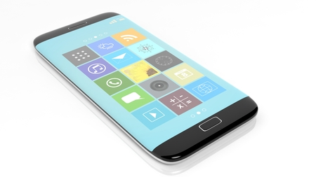 smartphone apps: Smartphone with square apps, isolated on white background. Stock Photo