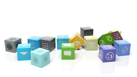 Various apps in shape of a cube, isolated on white background. Standard-Bild