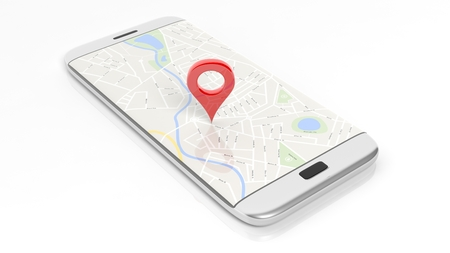 travel location: Smartphone with map and red pinpoint on screen, isolated on white background.