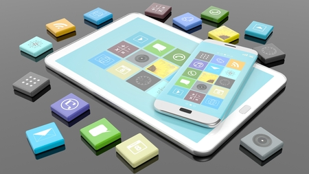 smartphone apps: Smartphone and tablet with apps in shape of beveled square, isolated on black Stock Photo