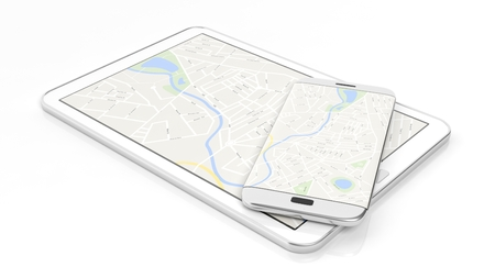 edge: Tablet and smartphone with map on screen, isolated on white background.