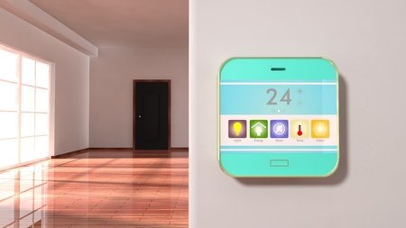 Interior of an apartment with smart home control device display on a wall Stockfoto
