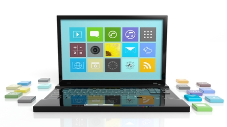 beveled: Laptop with beveled square apps, isolated on white background.