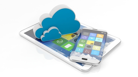 smartphone apps: Tablet and smartphone with square apps and cloud icons, isolated on white.