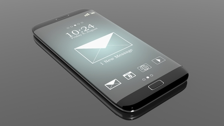 new message: Black smartphone edge with New Message notification on screen, isolated on black.