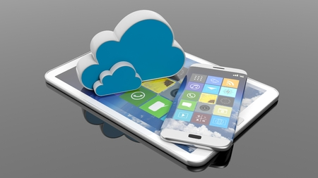 smartphone apps: Tablet and smartphone with square apps and cloud icons, isolated on black.