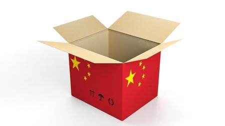 property of china: Carton box with China national flag, isolated on white background.
