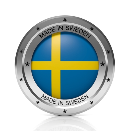 sweden flag: Made in Sweden round badge with national flag, isolated on white background.