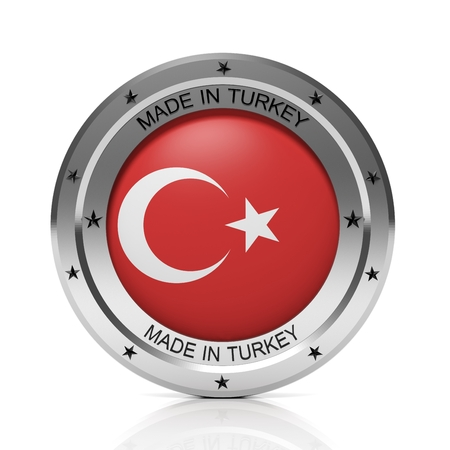 metal button: Made in Turkey round badge with national flag, isolated on white background. Stock Photo