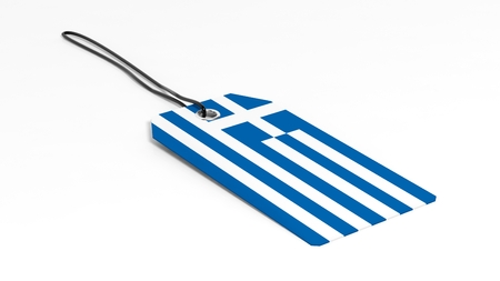 made in greece: Made in Greece price tag with national flag, isolated on white background. Stock Photo