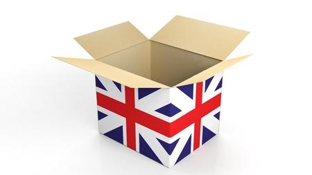 shipping: Carton box with UK national flag, isolated on white background. Stock Photo
